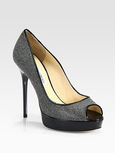 Jimmy Choo - Crown Flannel and Patent Leather Platform Pumps
