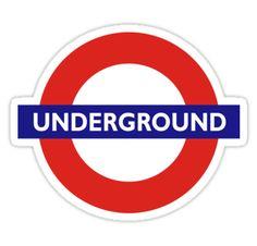 Bajo tierra, TUBO, Londres, Inglaterra, BRITISH logotipo del metro de Londres, conocido como el red… • Also buy this artwork on stickers, apparel, kids clothes y more.