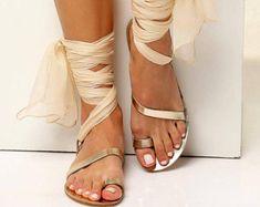 """Marfil sandalias cuero griego zapatos planos de oro de la boda nupcial """"Susana"""""""