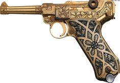 Gold plated Luger pistol from Krieghoff Heinrich Gun Co; I don't care for guns, but the workmanship is gorgeous!