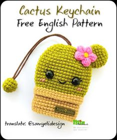 Translation: MATERİALS: * Any cotton yarn (green and brown) * 8 mm eyes * Hook according to the selected yarn ABB. Crochet Keychain Pattern, Crochet Amigurumi Free Patterns, Crochet Dolls, Crochet Stitches, Crochet Cactus Free Pattern, Crochet Key Cover, Crochet Case, Crochet Gifts, Crochet Key Chain