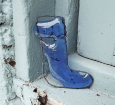 Recycled Glass Blue Christmas Stocking by PiecesofhomeMosaics, $18.00