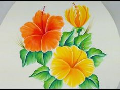 YouTube Acrylic Painting Flowers, One Stroke Painting, Fabric Painting, Watercolor Paintings, Painted Rocks, Hand Painted, Hawaiian Designs, Bottle Painting, Hibiscus Flowers