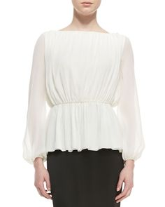 St. John Stretch Silk Jewel Neck Elbow Length Sleeve Blouse with Front Pleats