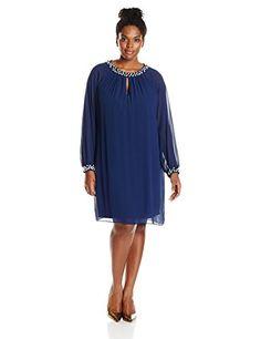 S.L. Fashions Women's Plus-Size Long Sleeve Pearl Trim Chiffon Sheath, Navy, 16W