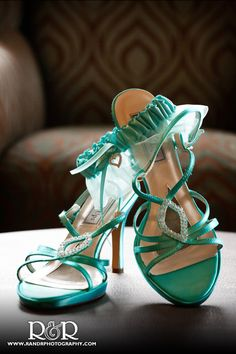 These delicate turquoise shoes were perfect for Cheryl's seaside wedding at the Mandalay Beach Resort in Oxnard
