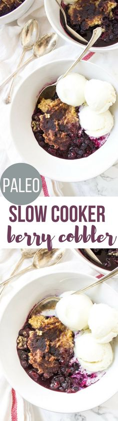Slow Cooker Mixed Berry Paleo Cobbler