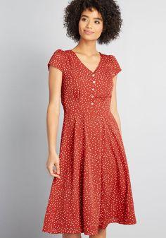 Louche Sophisticated Spontaneity A-Line Dress Red Polka Dot | Dress Outfits, Casual Dresses, Dresses For Work, Fashion Outfits, A Line Dress Work, Dope Outfits, Dresses Dresses, 80s Fashion, Modest Fashion