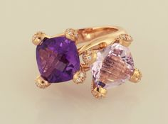 Dual Amethysts cut in a fancy square cut, total amethyst weight is set in rose gold with diamond pavé on prongs, diamond wieght Beautiful Engagement Rings, Love Ring, Heart Ring, Amethyst Rings, Gold Rings, Amethysts, Rose Gold, Fancy, Diamond