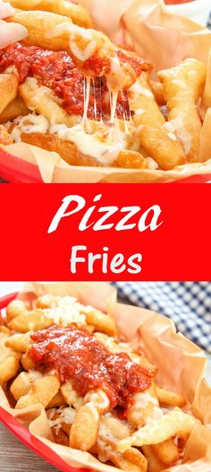 Pizza Fries. Fried pizza dough, mozzarella and marinara. A great game day appetizer.