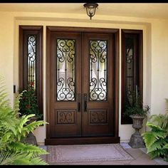 New Double Door Entryway Front Porches Decorating Ideas Ideas Double Front Entry Doors, Iron Front Door, Front Door Entrance, Door Entryway, Wood Front Doors, The Doors, Front Entrances, House Entrance, Windows And Doors