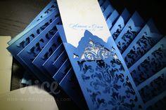 DAMASK laser cut wedding invitation blue/champagne /  nice-wedding-cards.com