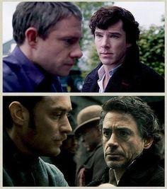 Benedict Cumberbatch, Martin Freeman, Robert Downey Jr, and Jude Law parallel. I ❤ it.