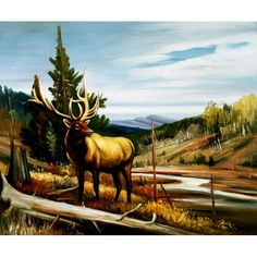 ON SALE! - Valley Landscape with Deer - $57.99 - Deer - Hand Painted - Oil Paingings for Sale - Oil on Canvas - Cheap Canvas Art