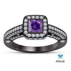 2.10 CT Princess Diamond & Amethyst 925 Silver Engagement Ring With Square Frame #affoin8 #WomensHaloStyleEngagmentRing