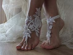 White pearl Beach wedding barefoot sandals | ByVivienne - Wedding on ArtFire
