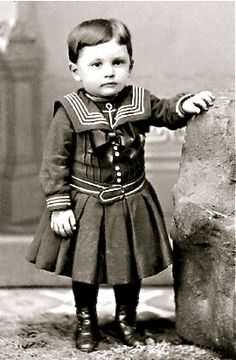 ~Victorian boy wearing a sailor suit, circa 1880-1890.