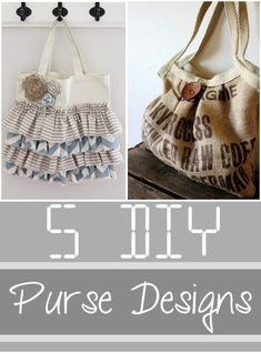 DIY Purse Designs, fun ways to upcycle and DIY a new bag.  Love these DIY purse designs and ideas.