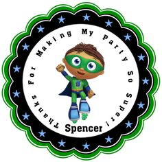 Super Why Personalized Stickers - Party Favors - Birthday Stickers - Gift Tag - Baby Shower - Choice Of Size (64)