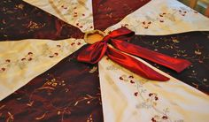 Silk Christmas Tree Skirt, Red, Floral by Refined Concepts