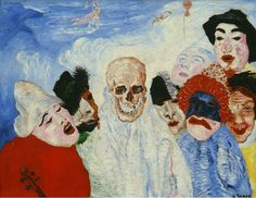 James Ensor, Death and the Masks. Oil on canvas, x 100 cm Musée d'Art moderne et d'Art contemporain (MAMAC ), Liège. It was confiscated and sold by the Nazi regime at the Galerie Fischer auction in Switzerland in James Ensor, Modern Art, Contemporary Art, Degenerate Art, Masks Art, Art Series, Art Moderne, Kandinsky, Impressionist