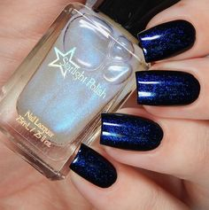 Phantom Color Shifting Top Coat - Blue to Purple Shimmer, Duochrome Polish, Indie Nail Lacquer, Mythological, Starlight and Sparkles Navy Nails, Red Nails, Hair And Nails, Cute Nails, Pretty Nails, Black And Blue Nails, American Nails, Christmas Manicure, Halloween Nail Art