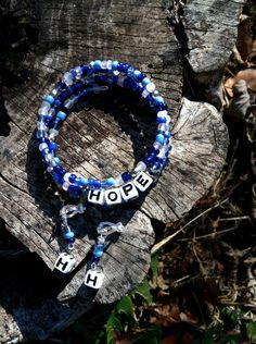 Blue Personalized Name Bracelet and Earring Set on Etsy, $10.00