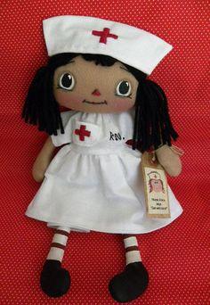 Nurse Doll- Black Hair-Nurse Doll, Primitive raggedy ann