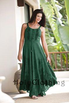 Green Jade Riona Bustier Corset Empire Gypsy Peasant Boho Maxi Sun Dress - Green - Shop by Color - Dresses