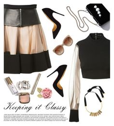 """Keeping it Classy"" by dira-purwanto ❤ liked on Polyvore featuring STELLA McCARTNEY, David Koma, Marni, Christian Louboutin, classy, skaterSkirts and nude"