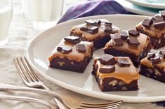 Chocolate Bliss-Caramel Brownies recipe-Rich brownies topped with ooey-gooey caramel and crowned with chunks of chocolate. Prepare to be a potluck hero.  #brownies