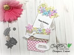 Flower Pot Pocket card using stamps and dies from @craftindesertdivas