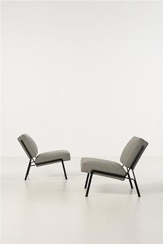 Pierre Guariche; #G2 Enameled Metal Lounge Chairs for Airborne, 1955.