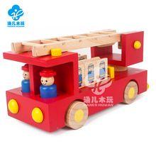 Escada de incêndio caminhão de madeira/brinquedos pintura Da Água do motor do Veículo + bordas Lisas + Manual da unidade de bombeiros 2 Motoristas + 5 bombeiros bonecas(China (Mainland))