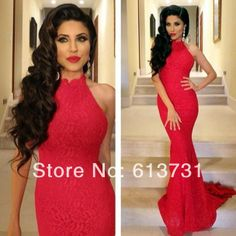 New Arrival 2014 Sexy Elegant High Neck Mermaid Red Prom Dresses Lace Women Evening Dresses Long With Train Free Shipping