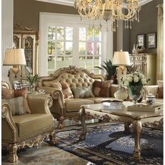 A living room set can make or break the look of your living area. Warehouse Direct USA offers ACME Dresden Living Room Set in Gold Patina and Bone at off. This ACME Furniture Living Room Sets looks really great. Famous Living Rooms, Living Room Sofa Set, Formal Living Room Sets, Formal Living Rooms, 3 Piece Living Room Set, Sofa Set, Gold Living Room, Shabby Chic Room, Acme Furniture