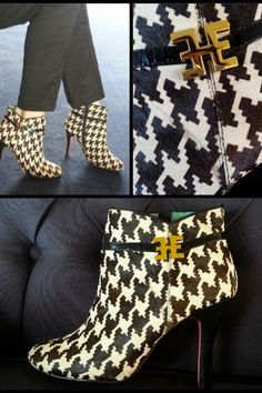 Edith and Ella Classy Houndstooth print pony skin ankle boots