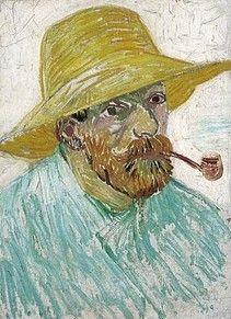 Zelfportret met pijp en strohoed, 1887 Vincent van Gogh (1853-1890)  Olieverf op doek op karton, 42 X 30 cm Van Gogh Museum, Amsterdam (Vincent van Gogh Stichting) F 524