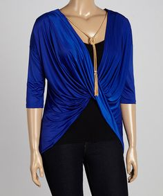 Loving this Royal Twist-Front Three-Quarter Sleeve Top & Necklace - Plus on #zulily! #zulilyfinds
