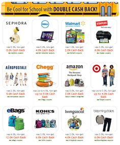 Ebates.com $$ Join for FREE + Get a FREE $10 Gift Card + Back-to-School Double Cash Back!