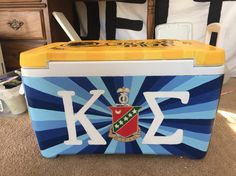 Kappa sigma fraternity crest and letters painted cooler Sorority Canvas, Sorority Paddles, Sorority Crafts, Sorority Recruitment, Painted Fraternity Coolers, Frat Coolers, Nola Cooler, Formal Cooler Ideas, Bubba Keg