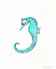 ACEO Seahorse Song / teal blue green aqua by kellybermudez on Etsy, $5.00