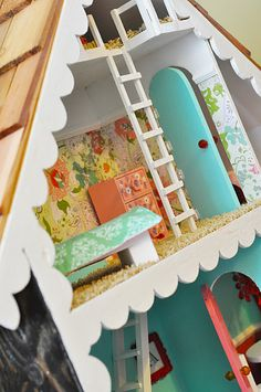 """Time to finish our doll house. love the """"wallpaper"""" crown moldings! the shingle roof and ladder (we don't have room for stairs. Doll Furniture, Dollhouse Furniture, Diy Dollhouse, Dollhouse Miniatures, Bookshelf Dollhouse, Wooden Dollhouse, Crafts For Kids, Diy Crafts, Diy Toys"""