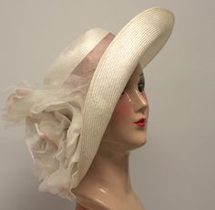 Kentucky Derby Hat, Garden Party Hat, Couture Women's Hat, Easter, Large Brim, Parasisal Straw, Ivory Straw