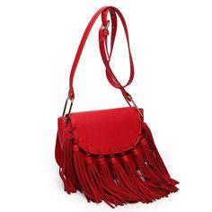 Genuine Leather Tassel Small Hobo Crossbody Bags