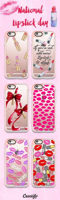It's National Lipstick day! Put on your favourite lipstick and enjoy your friday night! | Most favourite lipstick iPhone 6 protective phone case designs | Click through to see more iPhone phone case idea >>> https://www.casetify.com/collections/iphone-6s-lipstick-cases#/?device=iphone-6s | @casetify