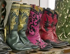Finished boots at Deana McGuffin's Shop, Albuquerque NM