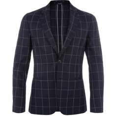 Paul Smith A Suit To Travel In - Tailored-Fit Navy Windowpane Check... ($985) ❤ liked on Polyvore featuring men's fashion, men's clothing and men's sportcoats
