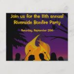 Bonfire Outdoor Party Postcard Invitation   chritmas gifts, confirmation gifts, thankyou gifts #dishscourer #nylonpotscrubber #nylonnetsponge