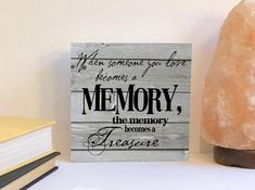 This memorial wood sign is a nice way to remember someone who has passed.  FEATURES -This sign is 6x6 inches. -The front of the sign is printed on heavy weight cardstock with fade resistant inks. -The back and sides are painted white to match any decor. -The sign has a 3/4 inch cradle. -The sign can